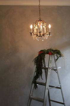 Wall color achieved by mixing leftover gray and taupe limewash paints. oh my favorite wall color of all! Lime Paint, Foyer Decorating, Holiday Decorating, Wall Colors, Paint Colors, Colours, Ladder Decor, Christmas Decorations, Photos