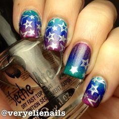 All my favorite colors! Plus stars  #veryelienails #nailart