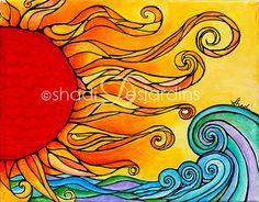 "Fine Art Painting Original ""Etu"" Sun Painting by Shadi Desjardins Sun Painting, Painting & Drawing, Painting Prints, Sun Drawing, Art Print, Art Soleil, Art Fantaisiste, Galerie D'art, Sun Art"