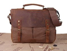 """Leather Canvas 14"""" Messenger Bag Brown  Rustic Crossbody Bag, Cute backpack for college!"""