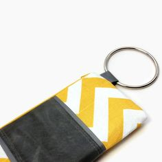Shoply.com -Yellow chevron stripe with gray leather BANGLE Wristlet. Only $44.00