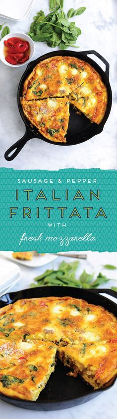 Sausage & Pepper Italian Frittata | Delallo | Sweet, smoky roasted peppers meet zesty Italian sausage in this beloved Italian-style egg frittata. Serve it up for breakfast or brunch with a side of salad greens tossed in a light vinaigrette.