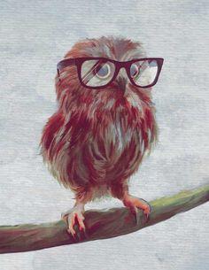 Owl Illustration. I love an owl in glasses :)