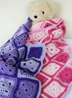 Baby blanket afghan pink granny square by lovinghandscrochet