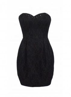 Black Strapless Dress with Lace Beaded Embellishment,  Dress, evening dress  strapless, Chic