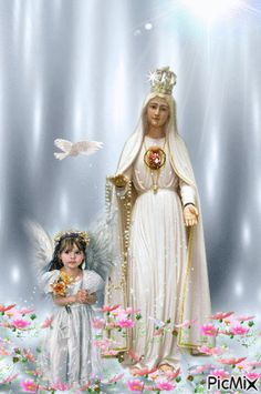 Full of Grace Lady Of Lourdes, Lady Of Fatima, Religious Pictures, Jesus Pictures, Blessed Mother Mary, Blessed Virgin Mary, Mama Mary, Flower Phone Wallpaper, Mary And Jesus