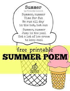 summer poem free printable