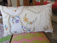 Cushion from old doilies