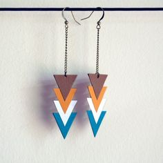 I love these #geometric #earrings! The colors are beautiful as well. Gotta love complimentary colors! :) $18