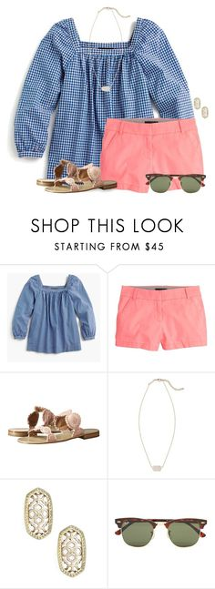 """""""Only 1 week until my birthday:)"""" by flroasburn ❤ liked on Polyvore featuring J.Crew, Jack Rogers, Kendra Scott and Ray-Ban"""