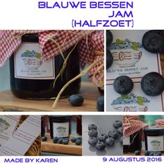 Heerlijke zelfgemaakte blauwe bessen jam (halfzoet) volgens recept op verpakking van van Gilse geleisuiker special! 1250 gram blauwe bessen 1 pak geleisuiker special.