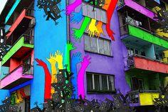 Multicolor Graffiti Buildings