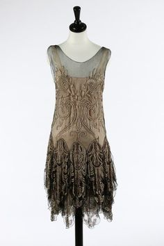 Callot Soeurs couture black tulle and pearl beaded flapper dress, 1927, the matching rose-pink satin slip with printed gold on ivory silk label 'Callot Soeurs, Paris, Hiver, 1927-28