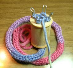 "French knitting - we used to make table mats by coiling the finished ""snake"" and securing with stitches. akl."