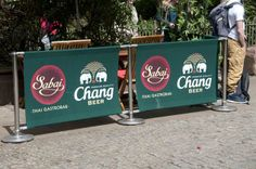 Cafe barrier with canvas printed banner