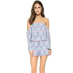 Frankie's Bikinis Tulum Off the Shoulder Romper ($135) ❤ liked on Polyvore featuring jumpsuits, rompers, batik, off shoulder romper, off the shoulder romper, bell sleeve romper and playsuit romper