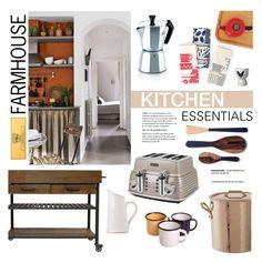 """Farmhouse Kitchen"" by ashley-rebecca ❤ liked on Polyvore featuring interior, interiors, interior design, home, home decor, interior decorating, DeLonghi, Mauviel, BROOKLYNrehab and TWG Tea Company"