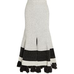 Proenza Schouler Tasseled stretch-bouclé midi skirt ($1,395) ❤ liked on Polyvore featuring skirts, white, flared skirt, mid calf skirts, white flare skirt, stretch skirts and white midi skirt