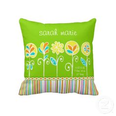 Cute Flower and Stripes Customizable Baby Throw Pillows