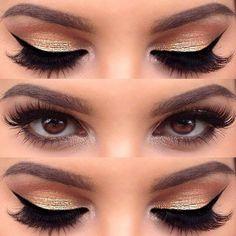 Gold make up  | via Tumblr