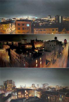 Oil paintings by Kim Cogan. Summers belong to rooftops!