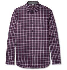 MICHAEL KORS Slim-Fit Checked Cotton-Poplin Shirt. #michaelkors #cloth #casual shirts