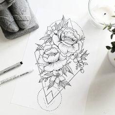 Geometric & floral tattoo idea _ beautiful drawing (not only for day . - Geometric & floral tattoo idea _ beautiful drawing (not only for tattoo artists) …. Tattoo Drawings, Body Art Tattoos, New Tattoos, Sleeve Tattoos, Tattoos For Guys, Cool Tattoos, Small Tattoos, Tatoos, Form Tattoo