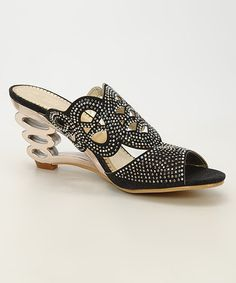 Take a look at this Black Filigree Rhinestone Sandal on zulily today!