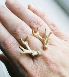 Cast Double Antler Ring
