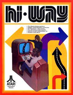 Atari Advertisement / Hi Way Video Game / Retro Computer / Retro Video Game / Vintage Graphic Design / Arrows ) Vintage Video Games, Classic Video Games, Retro Video Games, Retro Games, Video Game Posters, Video Game Art, Nintendo, Pc Engine, Penny Arcade