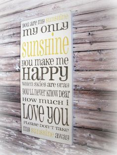 Etsy: You Are My Sunshine Shabby Chic Typography Sign-Charcoal Gray Yellow-Grey by Cellardesigns (92.00)