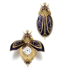 1890s women's pendant watches in the form of beetles, Swiss