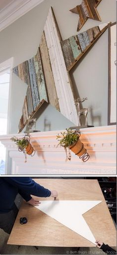 DIY Giant Wooden Star for the Christmas Mantel.