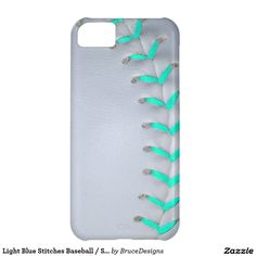 Light Blue Stitches Baseball / Softball Cover For iPhone 5C