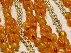 Sarah Coventry Amber Holiday Garden Beads Chains by SassyBeauties
