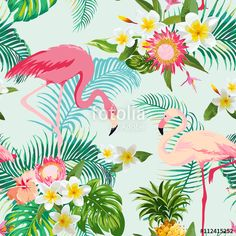 Vetor: Tropical Flowers and Birds Background. Vintage Seamless Pattern.