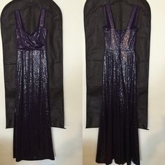 Donna Karan DKNY Purple Sequin Modern Icon Gown Beautiful dark purple sequin DKNY Donna Karan Modern Icons gown that has never been worn. It's brand new with tags still on. I bought this at full price and you'll probably never find it at this price, ever. My boyfriend cheated on me so I'm getting rid of everything! Moving on, cleaning out. DKNY Dresses