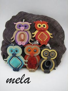 Soutache Pendant, Soutache Necklace, Bead Embroidery Jewelry, Ribbon Embroidery, Owl Jewelry, Beaded Jewelry, Bead Crafts, Jewelry Crafts, Soutache Tutorial