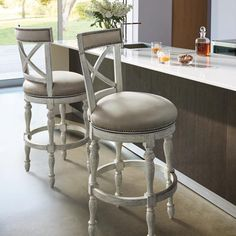 Griffith X-Back Swivel Bar and Counter Stools Kitchen Counter Stools, Swivel Counter Stools, Counter Height Bar Stools, Dining Stools, Condo Kitchen, Kitchen Redo, Counter Top, Kitchen Island, Entry Furniture