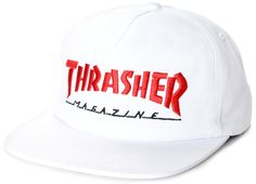 Grab yourself a new accessory while backing your favorite magazine with the Thrasher  Magazine Logo White and Red Snapback Hat. Absolutely simple with the ... b627dda90c14