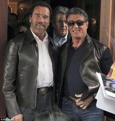 .Sly Stallone, Arnold Schwarzenegger, friends, happy, Sylvester Stallone