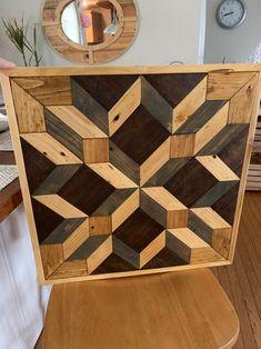 Farmhouse Custom Art Work | Etsy Scrap Wood Art, Reclaimed Wood Art, Barnwood Ideas, Barn Wood, Wood Wall Art Decor, Diy Wall Art, Barn Door Designs, Wood Mosaic, Geometric Wall Art