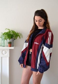 VINTAGE 90'S BLUE AND BURGUNDY ADIDAS TRACK JACKET