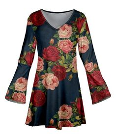 Azalea Blue & Red Floral Bell-Sleeve Tunic - Plus Too | zulily