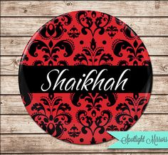 Custom Name Compact Mirror Black on Red by SpotlightMirrors