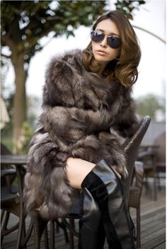 90 cm grows new style fox fur coat, warm winter lady natural ...