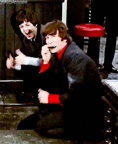 Paul McCartney and John Lennon (HELP! 1965) lol love these two adorkable men! <3 xD