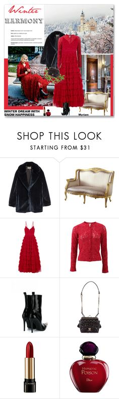 """""""WINTER  and christmas HARMONY"""" by lovemeforthelife-myriam ❤ liked on Polyvore featuring Nexus, H&M, Needle & Thread, FUZZI, Haider Ackermann, Chanel, Lancôme and Christian Dior"""