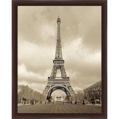 Sepia Eiffel Tower Wall Art, 16 inch x 20 inch, Brown