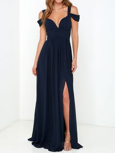 Cold Shoulder Wrap Maxi Prom Dress in Navy | Choies